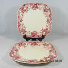 Johnson Brothers Strawberry Fair salad plates set 2 square white red pink berry