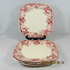 Johnson Brothers Strawberry Fair salad plates set 4 square pink white berries