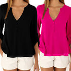 Stylish Ladies Summer Loose Blouse Tops 3 4 Sleeve Shirt Casual Work Blo