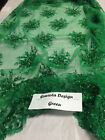 Beaded Fabric Flower Mesh Dress Green Sequins Lace Bridal Veil By The Yard