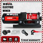 X-BULL 12V 3000LBS Electric Winch Synthetic Rope Wireless Remote Control Offroad