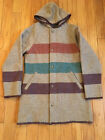 VINTAGE WOOLRICH WOMAN STRIPED HOODED WOOL COAT JACKET MILD STAINING ON HOOD S