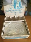 Vintage Federal Glass Company 8 Piece Homestead Snack Set Wheat Pattern