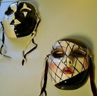 LOT OF 2 VINTAGE 1960s BLACK & WHITE WALL MASK FACES Face Clay Art Harlequin
