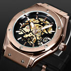 New Rose Golden Black Rubber Strap Skeleton Retro Mens Man Automatic Watch