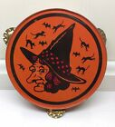 Vintage Halloween Rattle Noisemaker Tin Tambourine BEAUTIFUL Piece MAKE OFFER