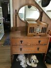 Antique Tiger Oak Mirror Top Dresser W/ Mirror Early 20th C. 60hx18dx38.5w