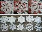 15psc Hand Crochet  Starched 35 Snowflakes Motifs Doilies Ornaments White