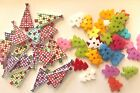 Lot of 10 2 Hole Acryl Wood Buttons Hair Bow Centers Colorful Tree Button