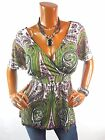 INC Womens Top 1X New Shirt Low Cut Paisley Stretch Short Sleeve Pink Green Wht