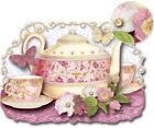 pUNCH sTUDIO Set of 6 Die Cut Dimensional Embellished Cards Pink Yellow TeaPot