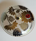 Frosted glass candy dish with bold gold silver red flowers mid-century style