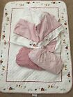 Baby GAP Crib Quilt Skirt  2 Fitted Sheets Red White Farm Animals Embroidered