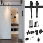 Hot 6FT Modern Antique Steel Sliding Barn Wood Door Track Hardware Set Black US