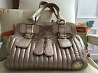 Authentic Chloe Bay bag large rose gold quilted leather good used condition