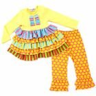 Girls Multicolored Ruffle Top With Polka Dot Leggings Easter Boutique Set NWT
