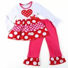 Girls Boutique Red and Pink Polka Dot Heart Ruffle Top with Leggings NWT