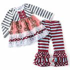 Girls Boutique Striped Top with Elephant Print and Matching Leggings Set NWT
