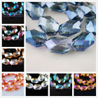 5pcs 18x13mm New Faceted Glass Crystal Charms Oval Hexagon Loose Spacer Beads