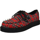 DEMONIA Mens Rockabilly Punk Goth Platform Shoes Studs CREEPER 603 Red Plaid