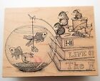 House Mouse Rubber Stamp No Cheese Please Fishing Mice Fishbowl Books Rare i