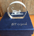 BIT CRYSTAL PAPERWEIGHT CAT KITTEN BALL GLASS LASER CUT ORIG BOX 1 3 4 X 9 16