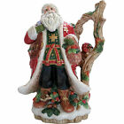 Fitz and Floyd Christmas Lodge Santa Claus St Nick Holly Owl Picther Pitcher Mug