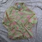 Odille Womens Pearl Snap Button Down Shirt Yellow Green Pink Anthropologie Sz 12