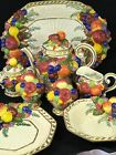 Fitz and Floyd Venezia Fruit Teapot Cream Sugar Salt Pepper Bowl Platters Set