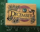 Rubber Stampede DECEMBER GEMS NARCISSUS TURQUOISE Month Rubber Stamp