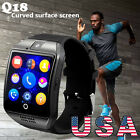 Q18 Curved Screen Smart Bluetooth Watch Phone GSM SIM Camera NFC For Android IOS