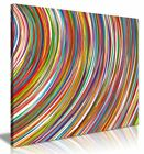 Abstract Modern Contemporary Rainbow Curved Stripes Canvas Picture Print