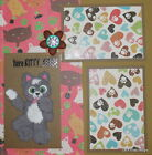 SEWN PREMADE Scrapbook Page Here kitty Tear Bear Cat Kitty 12x12 MSND Jenn