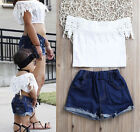 Fashion Toddler Kids Baby Girls Lace Tops Denim Hot Pants Outfits Clothes Set