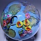 Gorgeous JOSH SIMPSON Signed MULTICOLORED Inhabited PLANET Art Glass PAPERWEIGHT