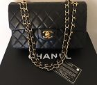 Authentic Chanel Small 255 Black Lambskin Leather Double flap Shoulder Bag GHW