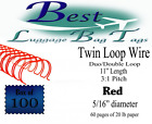 Red 5 16 Duo Wire Binding Spines Twin Loop Wires 31 Pitch Qty 100
