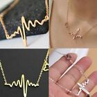 New Fashion Women Gold Silver Heart Beat Pendant Necklace Stainless Steel Chain