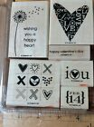 STAMPIN UP HAPPY HEART VALENTINES DAY LOVE WOOD MOUNTED RUBBER STAMP SET OF 6