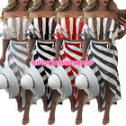 Hot Sale Women Hollow Out 2 PC Casual Off The Shoulder Sexy Beach Wear Dress B