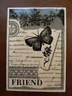 Rubber Stamp Hero Arts 2007 Collage Friend H4772 Leaves Flower Script Butterfly