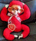VINTAGE 50s My Toy NYC Stuffed Monkey Chimp Chimpanzee Rubber Face RED NEW TAG