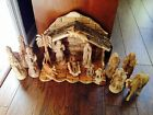 Heirloom Quality Olive Wood Nativity Set Holy Land 15 Hand Carved Wooden Pieces