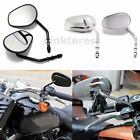 Full Metal Black Chrome Tapered Rearview Mirrors Long Stem For Harley Motorcycle