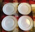 Four Vintage Fire King Swirl Milk Glass Dinner Plates