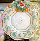 FITZ FLOYD Winter Wonderland Hexagon CHRISTMAS CANAPE PLATE NIB Clean Xlt