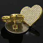Hip Hop Fully Iced Out Cz Large Heart Shaped Flat Screen Screw Back Stud Earring
