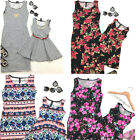 New Ladys Mother Daughter Matching Dresses Summer Girl Dress Clothes Outfit