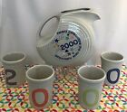 Fiestaware Pearl Gray Disc Pitcher Set 4 Tumblers 2000 Retired Millennium