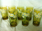 7 Vintage Amber Drinking Glasses with Daisy Pattern